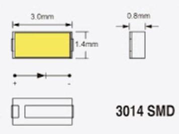 3014SMDチップの寸法図