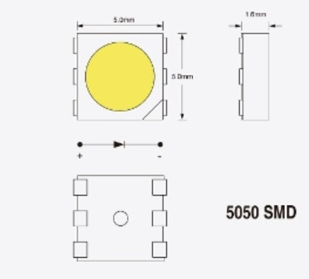 5050SMDチップの寸法図